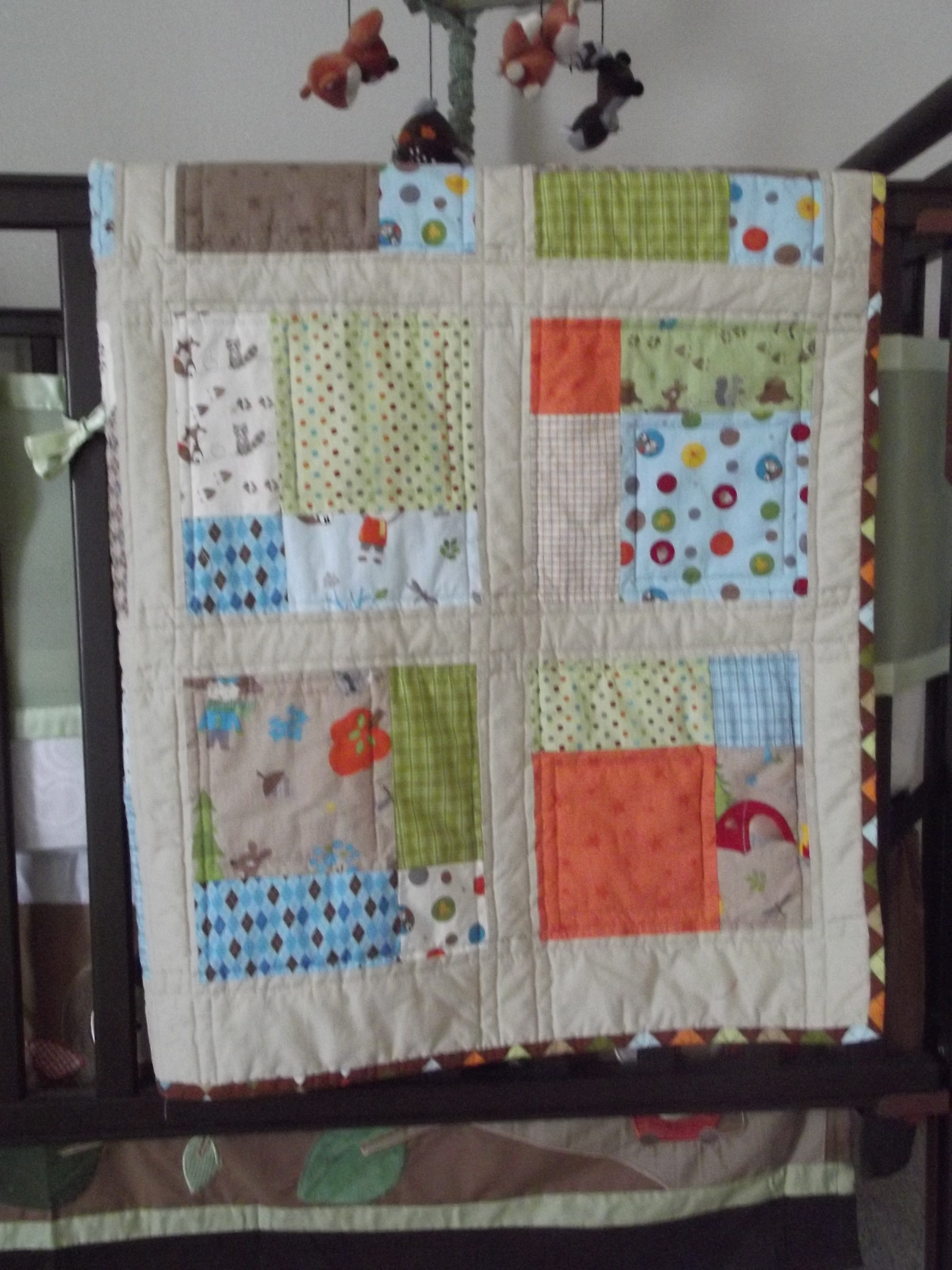 Project #6 and #7: A Half-Moon Crib Quilt and Pillow Cover